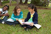 fort lauderdale, florida, united states of america, three girls doing school work in the park