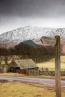 scottish borders, scotland, a shed along the road with a snow covered hill in the background