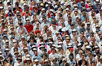 England, Bristol, County Cricket Ground, Cricket spectators at the County Cricket Ground. Also known as Nevil Road, it is home to the Gloucestershire ...