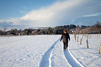 northumberland, england, a woman walking in tire tracks through the snow