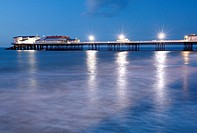 England, Norfolk, Cromer, Cromer Pier at night, on the Norfolk Coast.