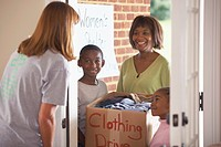 collecting clothes for a clothing drive