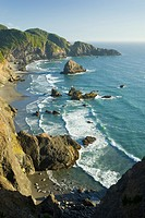 USA, Oregon, Curry County, Boardman State Park, Indian Sands from North Island Viewpoint, beach, sea stacks, and cliffs, vertical, September