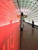 Person waiting by track at the Underground Metro Subway, Washington, D C