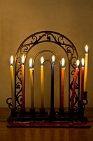 Hannukkia with 8 candles burning during the Jewish festival of Hanukkah