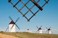Windmills and windmill arm. Mota del Cuervo, Cuenca province, Castilla La Mancha, Spain