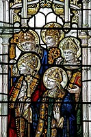 A stained glass window depicting various saints, Church of St John the Baptist, Bishopstone, Wiltshire