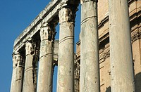 columns part of the temple of antoninus and faustina changed to the church of san lorenzo in Miranda imperial roman forum Rome Lazio Italy