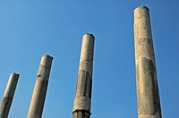 Columns of Basilcia Ulpia on the Forum of Trajanus in front of SS Nome di Maria Church on Via dei Fori Imperiali, Rome, Italy, Europe