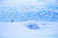 Skiing Spencer Glacier near Portage Kenai Peninsula AK winter scenic