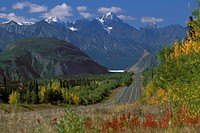 Glenn Highway @ Lions Head Chugach Mtns SC AK Autumn /nWhite is Matsu Glacier