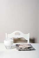 Savoury crackers and glass of milk