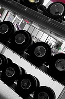 Barbells in a gym