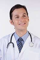 Close_up of a doctor with a stethoscope