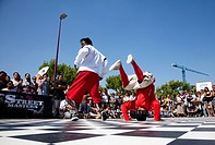 breakdancers in action during streetmaster event