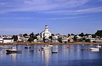 View of harbor and beach with town in the background  Provincetown, Cape Cod, MA