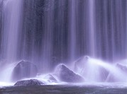Close up of waterfall, long exposure, Inawashiro Town, Fukushima prefecture, Japan