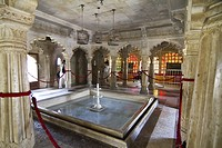 Fountain in a hall, City Palace, Udaipur, Rajasthan, India