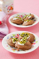 Iced chocolate biscuits with pistachios