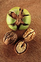Walnuts, shelled and unshelled overhead view