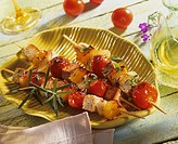 Grilled pork and vegetable kebabs