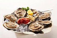 Plate of Raw Oysters on Ice