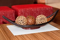 Decorative wicker balls in a basket