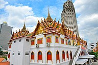 Low angle view of a temple in a city, Wat Yannawa, Bangkok, Thailand
