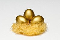 Golden eggs in a nest to signify savings or a coming to fruition