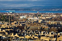 Scotland, City of Edinburgh, Edinburgh. Looking across Edinburgh City New Town to The Firth of Forth from Calton Hill.