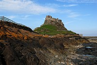 England, Northumberland, Holy Island. Lindisfarne Castle, built in the 1550s from stones from the demolished priory after the dissolution of the monas...