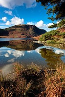 England, Cumbria, Buttermere. Hills reflecting in the calm waters of Crummock water in the Lake District.