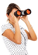 business woman with binoculars searching for a job _ isolated over a white background