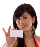 Businesswoman showing his business card isolated