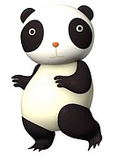 A surprised looking panda drawn in a 3D style