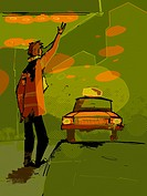 A man hailing a taxi cab
