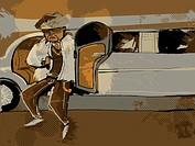 A flashily dressed man getting out of a limousine (thumbnail)