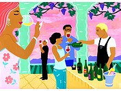 A painting of a wine tasting