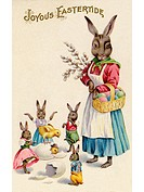 A vintage Easter postcard of a rabbit and her rabbit children playing around hatching eggs