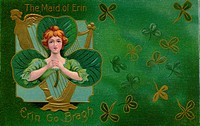 A vintage illustration of The Maid of Erin surrounded by Shamrocks