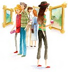 A watercolor illustration of people at an art opening