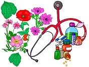 A juxtaposition of natural flowers an medical pills and potions