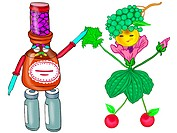 A man and woman constructed from pill bottles and organics (thumbnail)