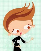 A paper cut illustration of a young boy coughing