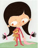 A paper cut illustration of a young girl with measles (thumbnail)