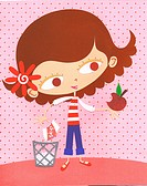 A paper cut illustration of a young girl eating an apple instead of a bag of chips