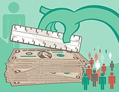 A graphical illustration a large hand measuring a stack of dollar bills and male symbols figures
