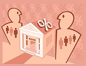 A graphical illustration centered around a bank