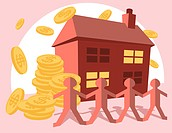 A graphical illustration combining buildings, large dollar coins and small male figures banding together