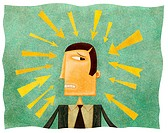 A worried businessman with arrows pointing at his head
